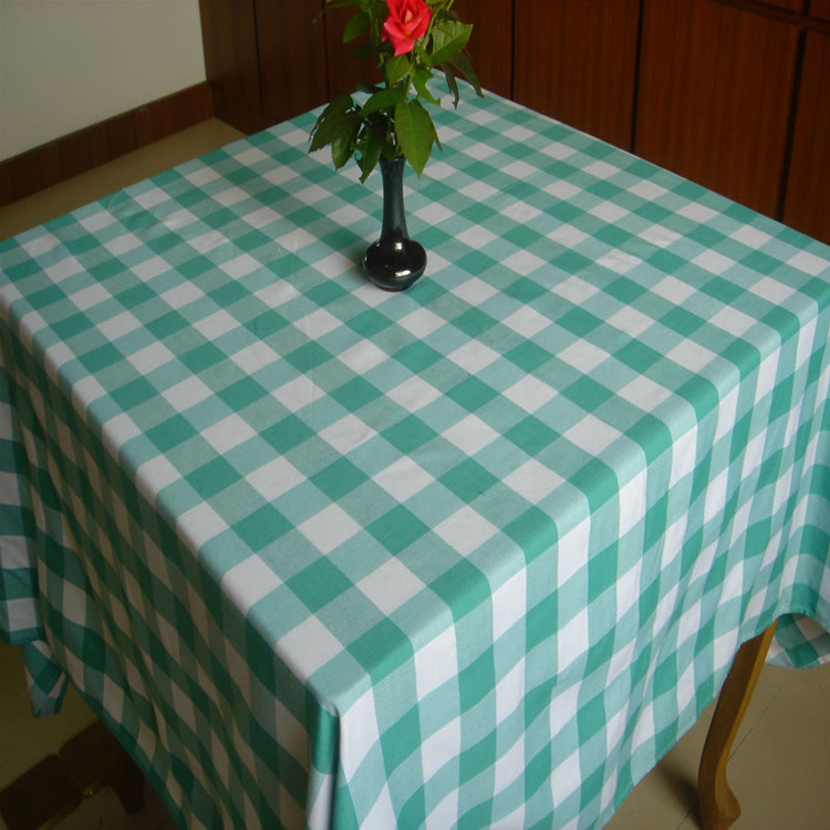 Trendy British Plaid Textured Yarn Dyed Restaurant Table Cloth