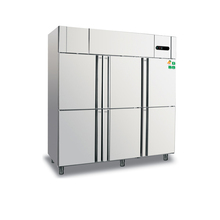 Big capacity commercial stainless steel 6 doors vertical deep freezer