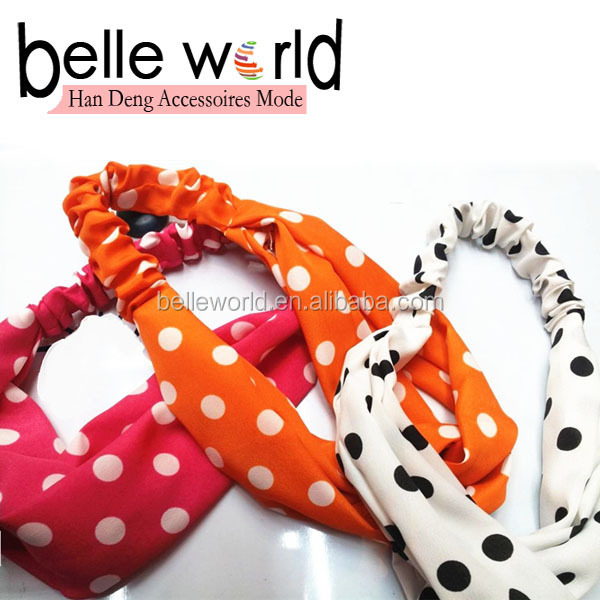 Multicolored Polka Dot Wide Headband Stretchy Wide Yoga Head Band
