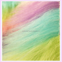 rainbow colored fabric high quality faux fur fabrics high pile plush faux fake fur fabric