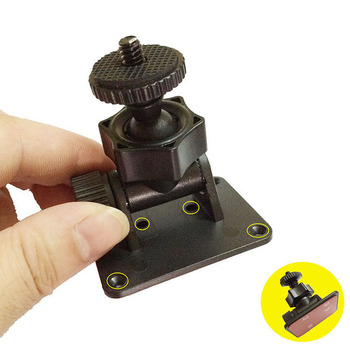 "1/4"" standard screw Car Camera Mount 3M Sticker DVR Bracket 360 degree ball head Swivel Mount holes for strongly installation"