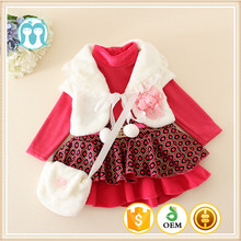 Duoduo Princess Toddlers Christmas Party Clothing Infants Birthday Winter Clothing Sets Baby 3pcs Dress Sets