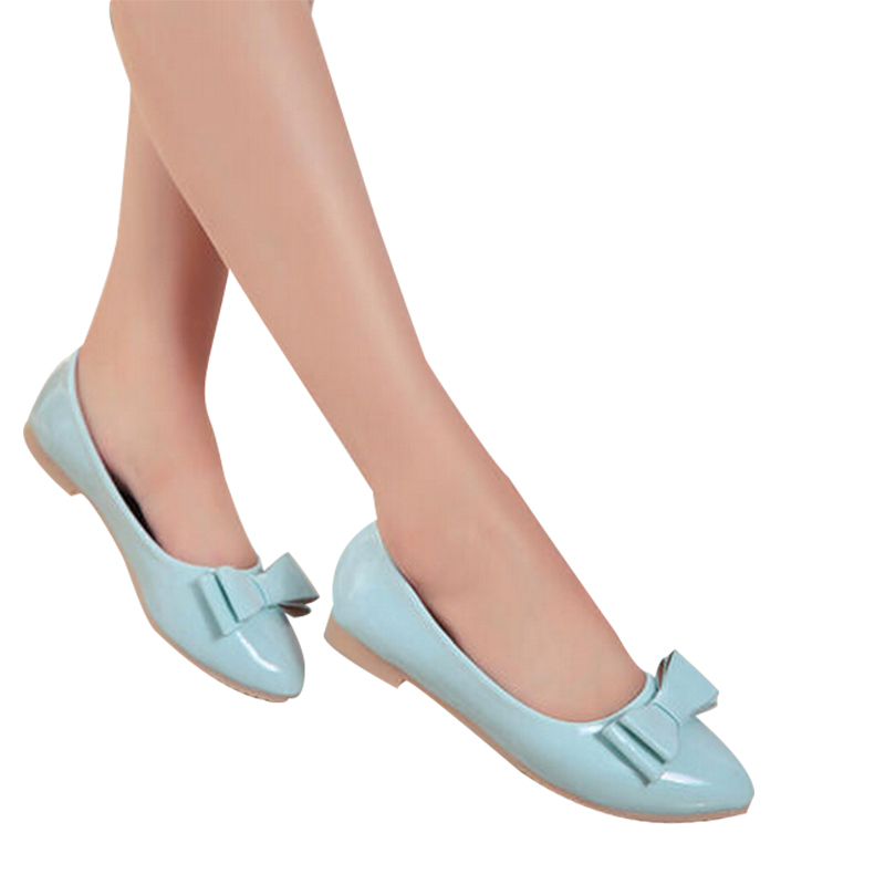 New Style 2015 Shoes Women Fashion Bowtie Decorations For Sexy Ladies Leather Casual Sports Shoes Pointed Toe Women Flats DX2954