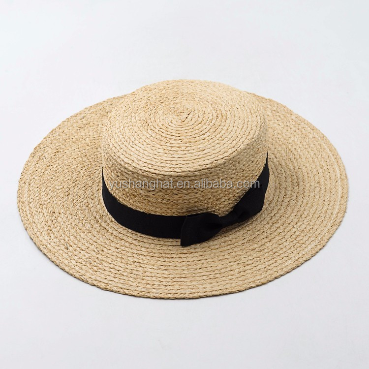 Wholesale good quality wide brim raffia boater hat with bowknot for adult
