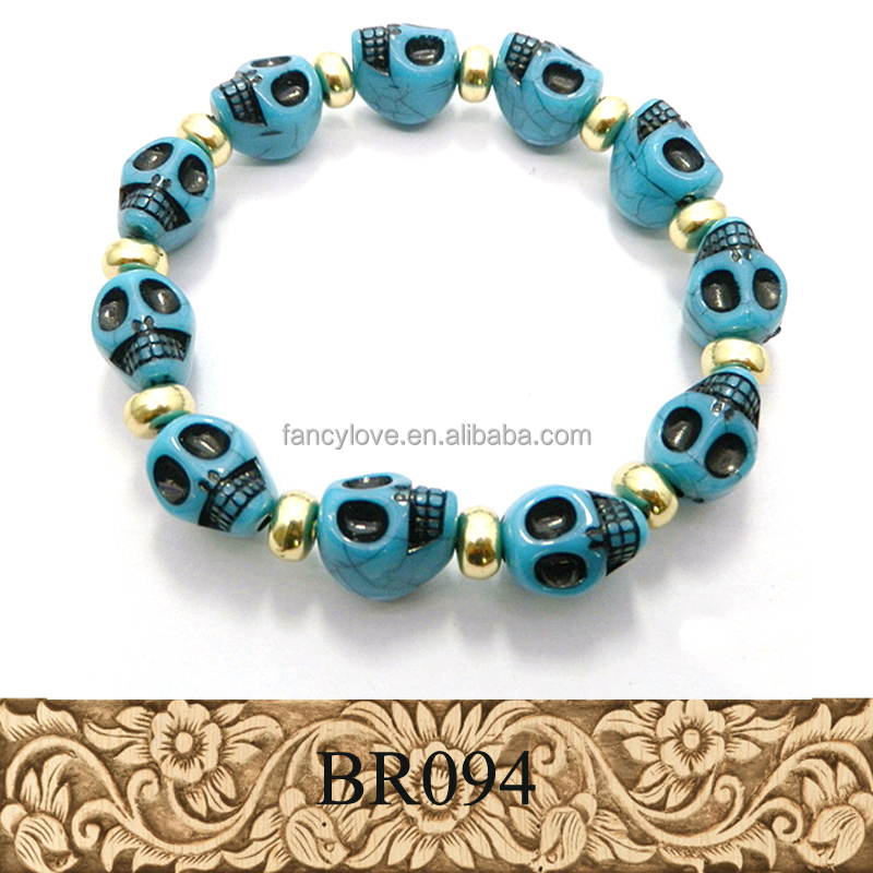 Yiwu jewelry factory hot sell natural turquoise stone ghost skull bead bracelet