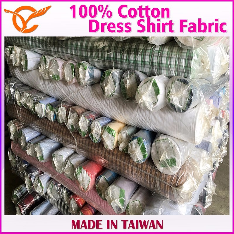 100% Cotton Yarn Dyed Woven Shirt Fabric Stock Lots