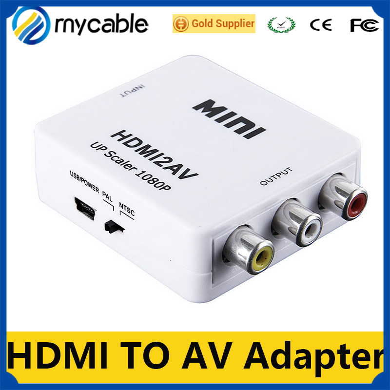 2016 min RCA AV Male to HDMI Female Converter Adapter Full HD 1080P Mini Composite CVBS to HDMI AV2HDMI Audio Converter