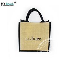 Customized Company Name logo print Jute Fashion shopping Tote Bag