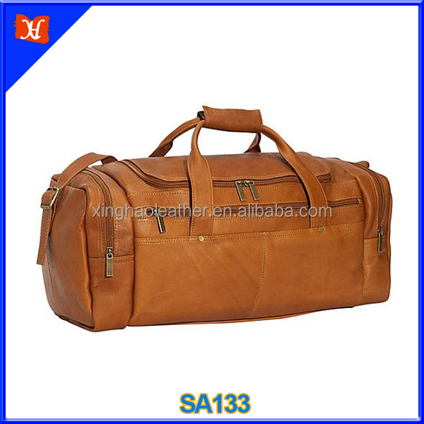 Mens 20'' genuine leather duffel bag vintage travel bag high-capacity elegent tote weekender bag wholesale