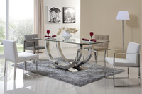 modern dining room furniture metal base 8 seaters glass dining table