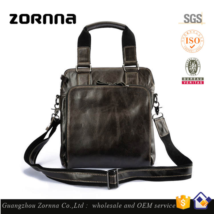 Agenda Horse Design Genuine Leather men handbag Fabric Briefcase Executive Bag
