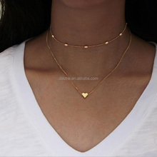 2017 yiwu factory simple design heart bar link chain choker gold plated double layer women necklace