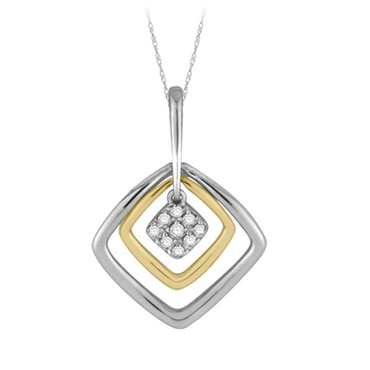 Korean design AAA zircon sterling silver 925 square pendant necklace wholesale