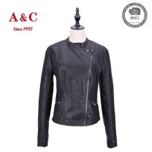 Custom Lady Black Tight Leather Motorcycle Bomber Jacket