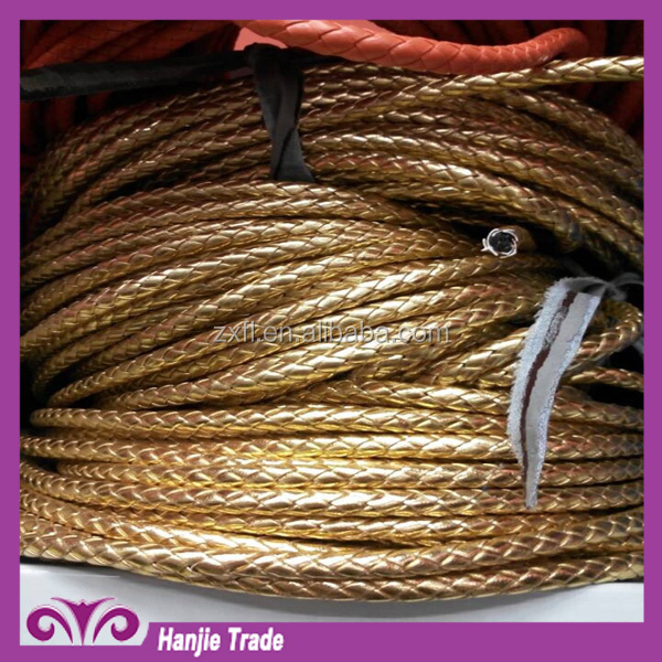 New gold rope PU/PVC leather braided rope
