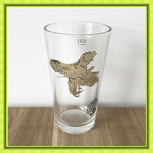 16oz clear eagle printed glass tumbler,drinking beer glass cup Bengbu Cattelan Glassware