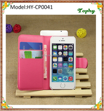 Rose Red PU Leather + PC Litchi Pattern Wallet Card Stand Cover Holster Magnetic Flip Phone Case For iphone 5