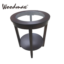 WI106 Round Walnut Accent sofa side table w drawer coffee shop tables and chairs