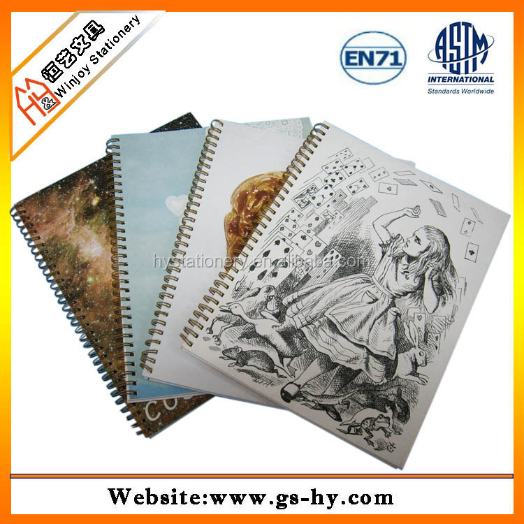 School exercise notebook printing, spiral ring binder notebook with pen