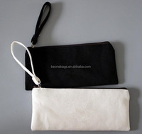China suppliers wholesale small zipper canvas pencil pouch with strap