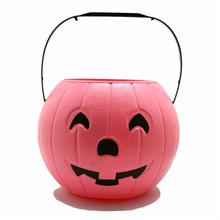 New Design pink Halloween plastic pumpkin bucket