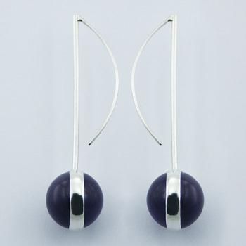 Vivid Amethyst Earrings Balls On Bent 925 Sterling Silver