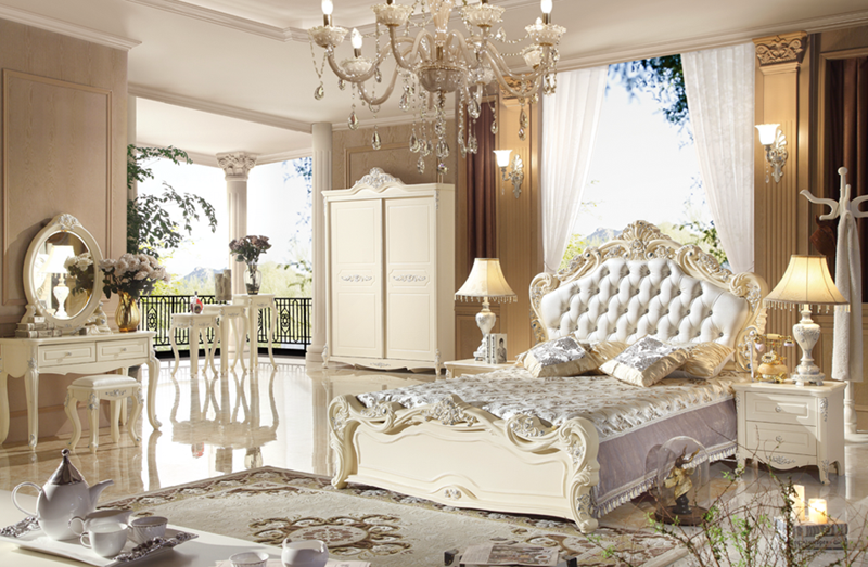 Luxury french style Wooden antique white bedroom furniture with king size bed