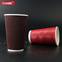 Red & black ripple double wall of disposable coffee paper cups