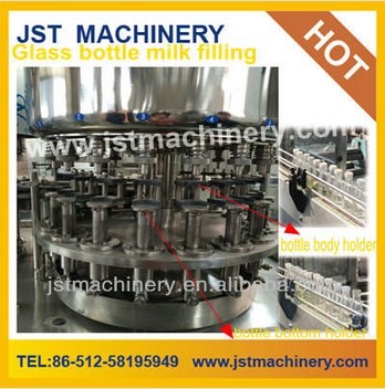 Fresh Milk Bottling and Sealing System Line For Glass Bottle / PET Bottle