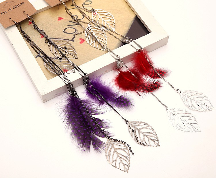 C86061A Bohemian Polka Dot alloy leaf feather earrings/women hot sale earrings