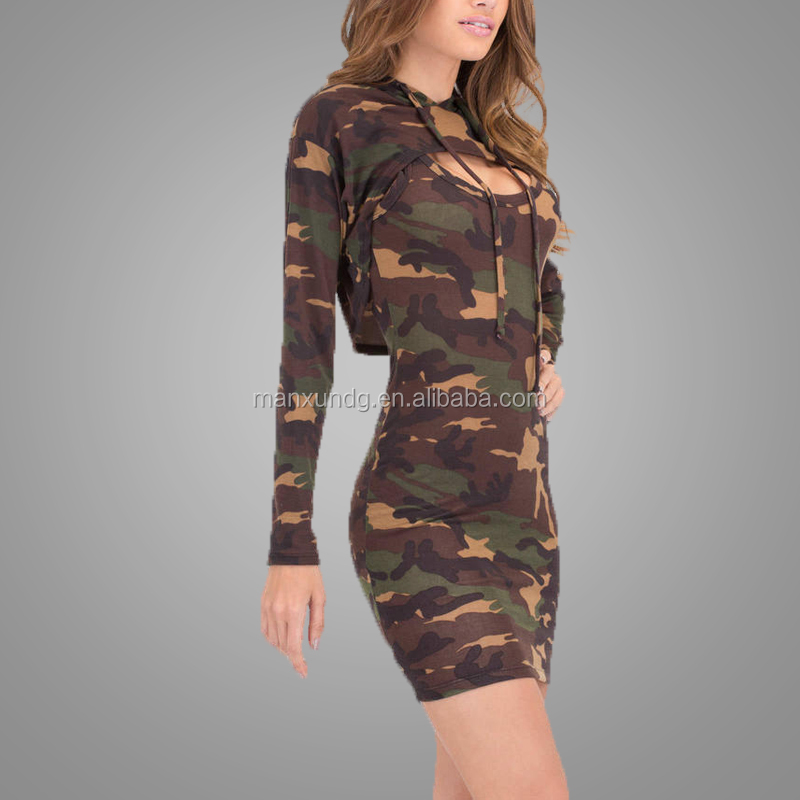 Custom New Design Female Clothing Fashion Printing Camo Dress Camouflage Army Green Dresses Model Dress