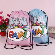 Full colors printed 210D nylon custom drawstring pouch bag backpack with cord