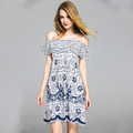 Summer dress for Women falbala sleeve slim fit strapless off shoulder Ladies daily dress