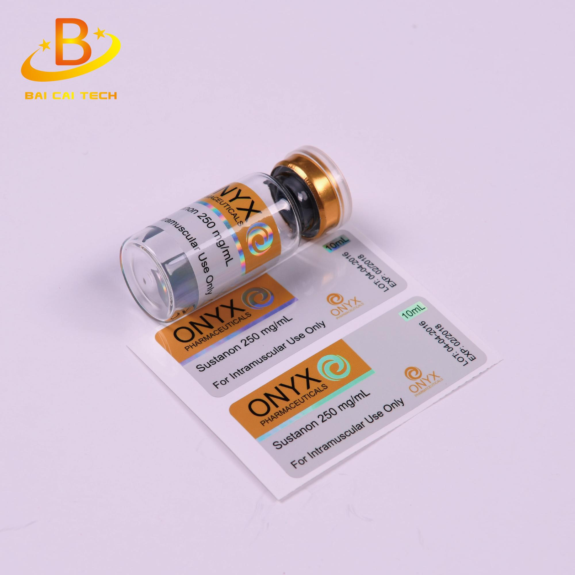 Pharmaceutical top quality free sample waterproof testostrone 10ml vial labels