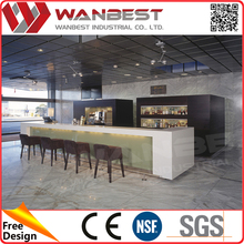 Artificial marble high top restaurant bar table and chairs solid surface breakfast bar table and stools
