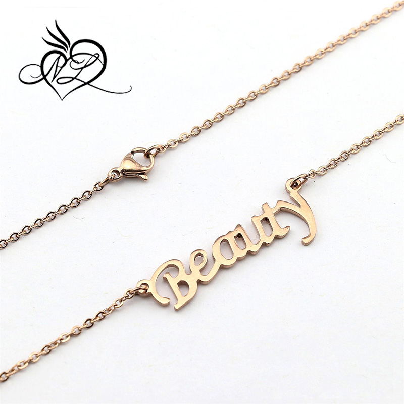 Custom Design Rose Gold Stainless Steel Beauty Word Monogram Necklace