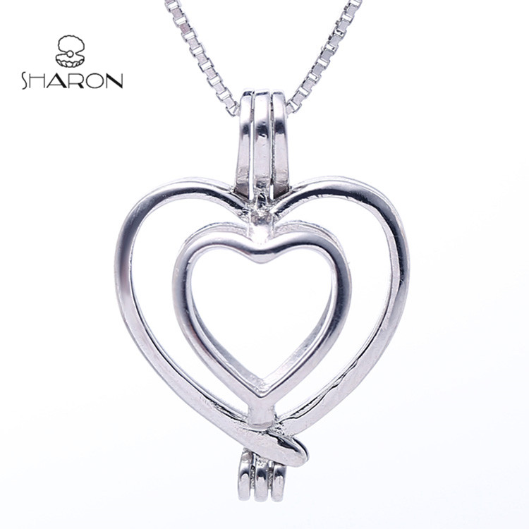 Heart Love Pearl Cage Pendant Double Heart Necklace Sterling Silver Heart Pearl Cage Pendant S925
