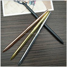 Metal rose gold slim thin wedding hotel cross brass ball point pen kugelschreiber without clip