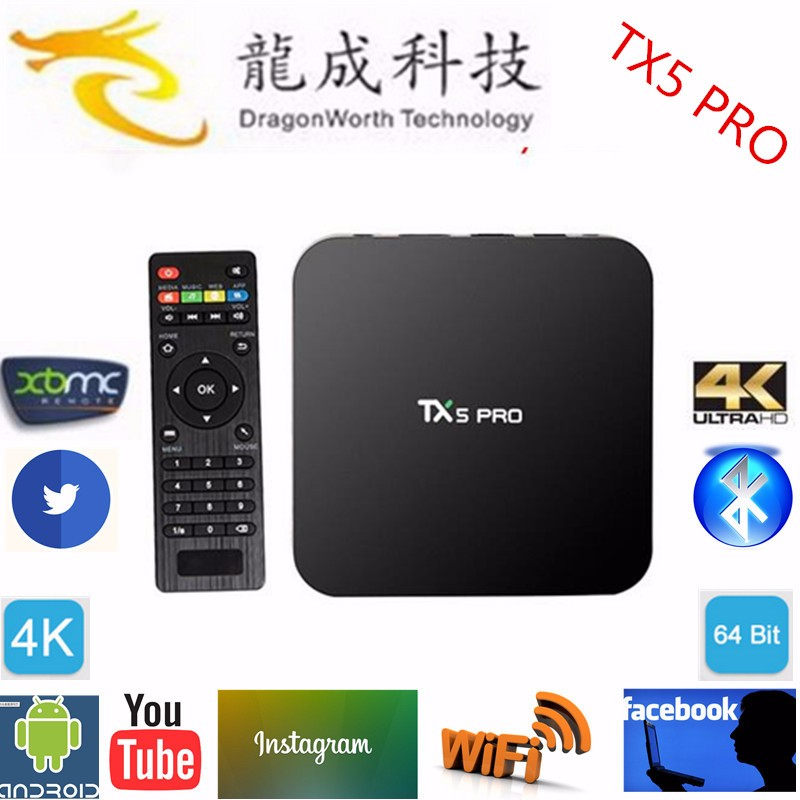 TX5 pro tv box Amlogic S905x Quad Core 64 bit 2.0GHz Quad Core -A53 TX5 Pro with Kodi pre-installed x96 smart tv box