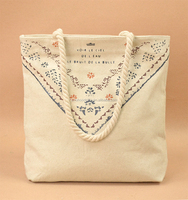 China Huge Cotton Canvas Boat Tote/ Heavy Duty Shopping Bag With Rope Handles Wholesale