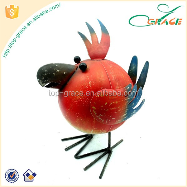 Spring garden metal cartoon red bird metal garden decoration iron garden bird metal bird