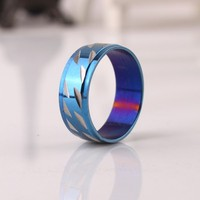 wide 7mm blue carving rings Stainless Steel finger ring