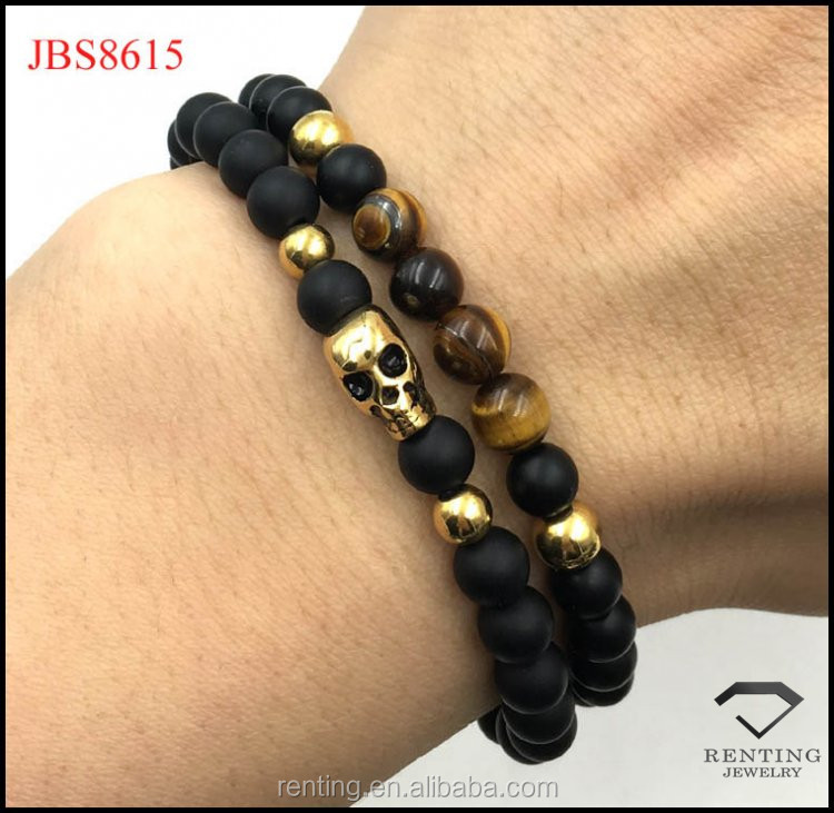 High quality stainless steel skull charm natural stone bead men jewelry bracelet