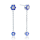 POLIVA factory Customize 925 Sterling Silver Jewelry Blue Diamond Long Cz Dangle Classic Stunning Stud Earring