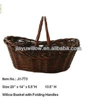 Bulk willow wicker baskets with folding handle