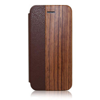 2016 China Supplier Hot Selling New Products Wood Wallet Flip Cover Leather Mobile Phone Case for iPhone 6