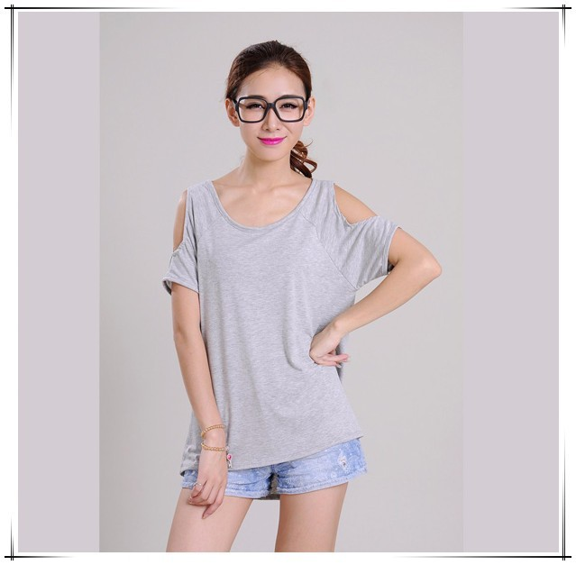 2015 new fast shipping Women Deep Neck Short Sleeve Cut Out Shoulder Top female casual short t shirt from supplier Guangzhou B20