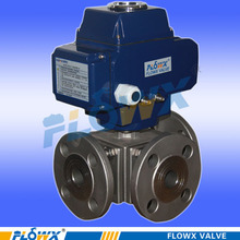 Flowx Best Quality electric PVC three way flange ball valve for sale