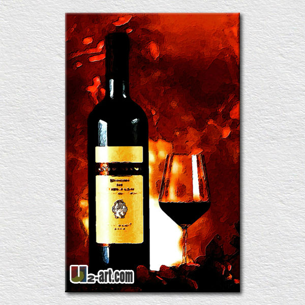 Wholesale price textured oil painting wine bottle on living room