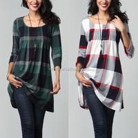 Top Sales Elegant Women Fashion Long Sleeve Plaid Western Style Waist Tunic Dress Wholesale Custom Clothing
